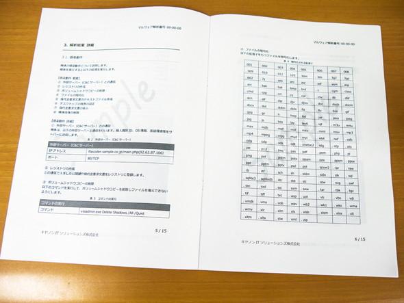 解析結果報告書のサンプル