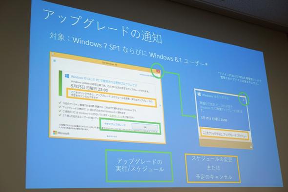 「Windows 7 SP1」および「Windows 8.1」に表示されるアップグレード通知。アップグレードをキャンセルするには、黄色の枠部分に表示される小さなリンクを選択する必要がある