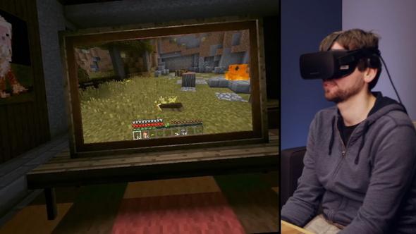 VR空間内のディスプレイで通常モードのマイクラをプレイすることもできる