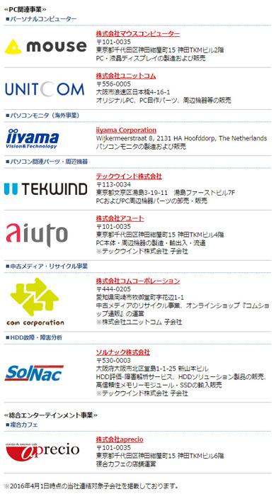 マウスコンピューターが属するMCJグループのグループ会社一覧