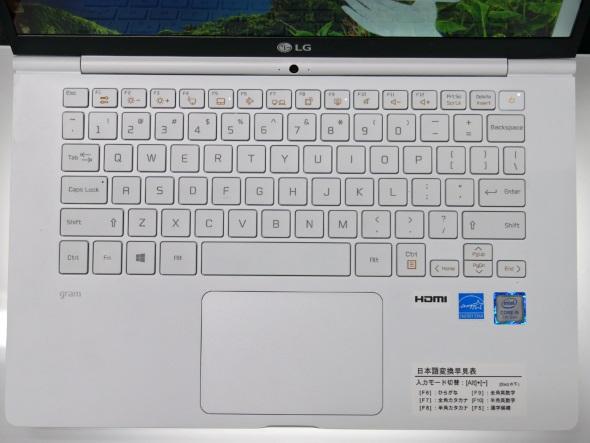 14型モデルのキーボード回り