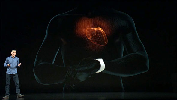 cb93b679b7 Apple Watch Series 4を装着し、Digital Crownに指先を載せることで、身体の中の微弱な信号を読み取って心臓の動きを捉える ECG(心電図)計測機能