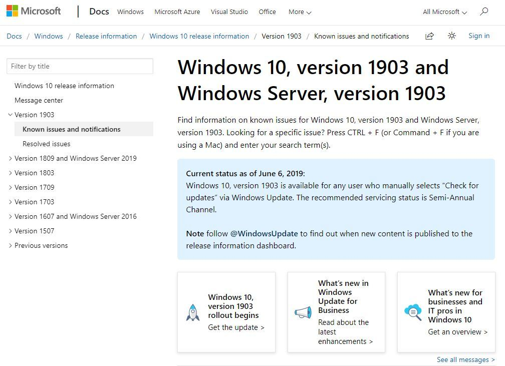 Windows 10 May 2019 Update」が「Windows Update」の手動確認で