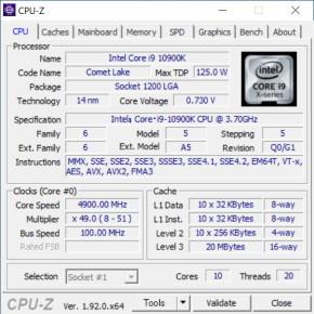 Core i9-10900KのCPU-Z