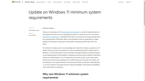 Update on Windows 11 minimum system requirements