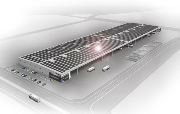 図1 ひびき国際物流センターの屋根に太陽光発電パネルを設置したイメージ図