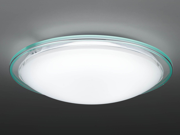 図1 東芝ライテックが新たに発売するLED天井照明の中でも楽エコセンサーを備えた製品。センサーは外周の枠に設置してある。図は8畳向けの「LEDH94022Y-LC」