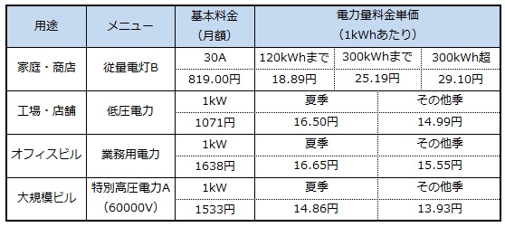電力 電気 料金 東京