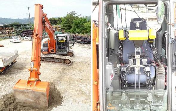 人型ロボットによる建設機械操縦システム(DOKA ROBO)