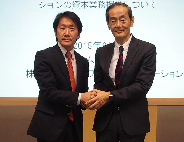 協業を発表した日本コムシス 執行役員 技術開発室長の髙市良治氏(左)とNWC 代表取締役の馬越伸太郎氏(右)