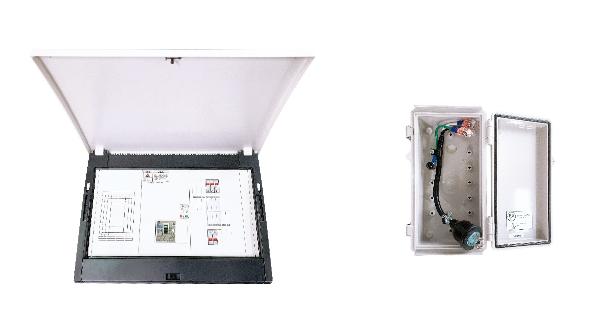(左)重要負荷分電盤、(右)屋外電源入力Box