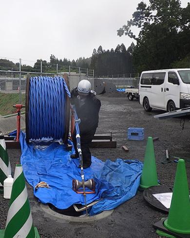 6600V AL-CVTケーブル延線作業