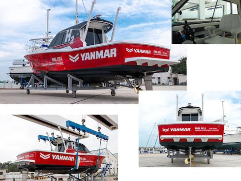 舶用燃料電池システム実証試験艇 外観および内観