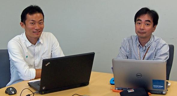 ハードウェアエンジニア/3Dモデラーとして活躍する仙頭邦章氏(左)と、シーメンスPLMソフトウェア マーケティング本部の榑谷悦朗氏(右)