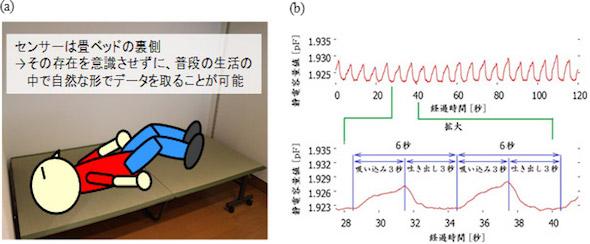 (a)ベッドセンサーとして使用する際のイメージ図、(b)ベッド上で人が周期的に呼吸した際のセンサーの静電容量値