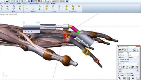 Adamにて検証した固定器と手指モデル