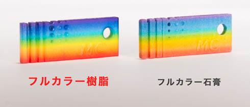 フルカラーUV硬化インクジェット方式による造形の方が発色が鮮やかである