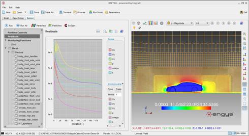 HELYXの解析例:自動車周りの速度分布