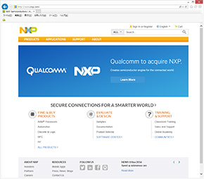 NXP Semiconductorsのサイトには大きく「Qualcomm」の文字が