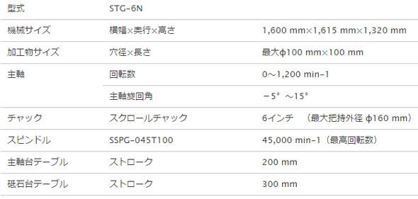 CNC内面研削盤「STG-6N」の主な仕様
