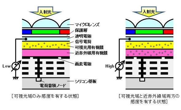 積層型有機薄膜を用いたCMOSイメージセンサーの画素構成と、撮像波長域切り替え時の信号電荷のイメージ