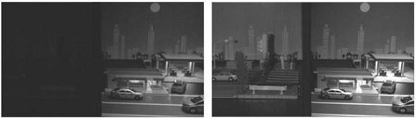 暗い場所と明るい場所の撮像。可視光域のみ(左)、可視光域と近赤外線域(右)
