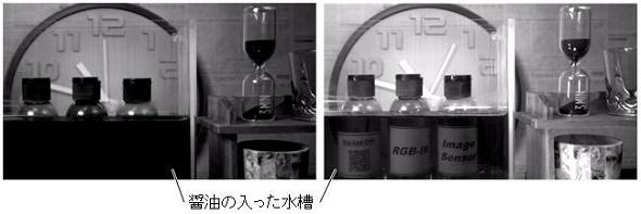 近赤外線域撮像では水槽のしょうゆが透けて、奥にある瓶のラベルが認識できる。可視光域のみ(左)、可視光域と近赤外線域(右)