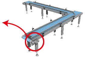 モジュラーチェーンコンベヤー駆動の使用例