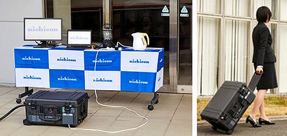 パワー・ムーバーからの給電と持ち運びイメージ (クリックで拡大) 出典:ニチコン