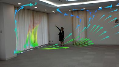 HoloLensによるCFD可視化イメージ