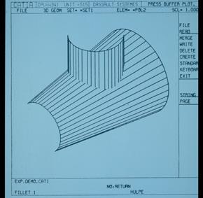 初期バージョンの「CATIA V1」の画面イメージ(出典:ダッソー・システムズ)