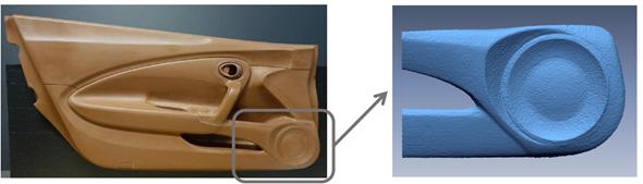 左:計測した自動車ドアのクレイモデル、右:今回生成した3次元形状モデル