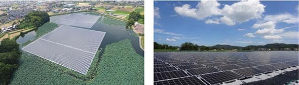 「平木尾池水上太陽光発電所」の外観 出典:三菱電機