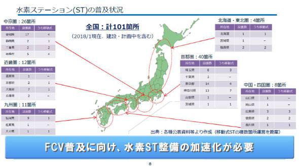 国内の水素ステーション整備状況(クリックして拡大) 出典:日本水素ステーションネットワーク