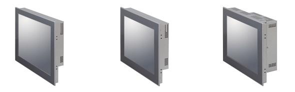 タッチスクリーン一体型ファンレス産業用PC(左から)PT-956SHX(15インチ)、PT-956SLX(12.1インチ)、PT-956SLXP1(12.1インチ拡張スロット付) 出典:コンテック