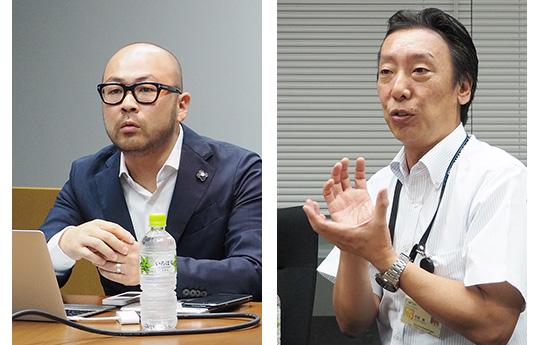 WHITE MOTION 最高経営責任者(CEO)の蔵本雄一氏(写真=左)と会長の石橋誠氏(写真=右)