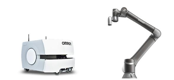 オムロンの自動搬送モバイルロボット「LDシリーズ」(左)とテックマンのアーム型協調ロボット「TMシリーズ」(右) 出典:オムロン