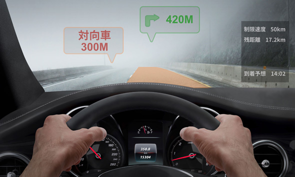 未来の自動車向けナビゲーションシステムのイメージ