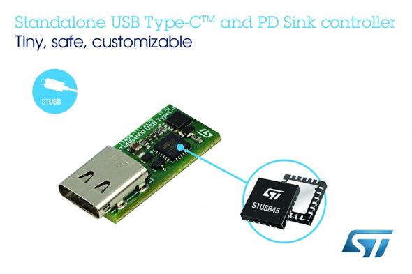 スタンドアロン型のUSB Type-C/USB Power Delivery(USB PD)コントローラー「STUSB4500」