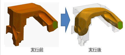 HELYX-Adjointによるトポロジー最適化(エアダクトの圧力損失を最小化):出典:ヴァイナス