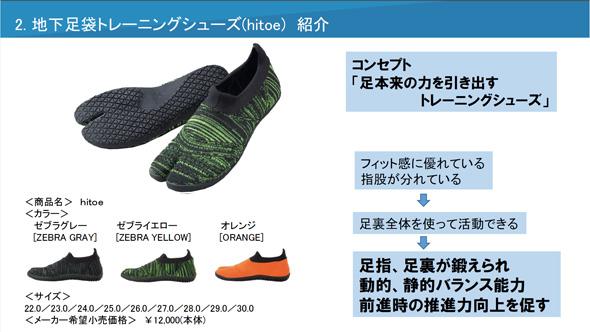 地下足袋型トレーニングシューズ「hitoe」について(出典:丸五)