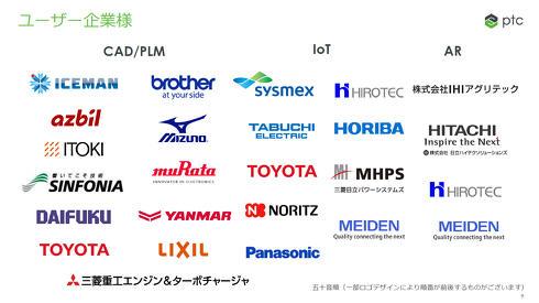 CAD/PLM、IoT、AR領域におけるPTCのユーザー企業の例