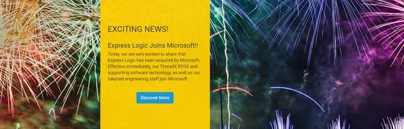 """打ちあがる大量の花火を背景に""""Express LogicがMicrosoftに参画!""""とするリリースを出すあたりは、いかにもBill Lamie氏(Express Logic創業者兼CEO)という気がする"""