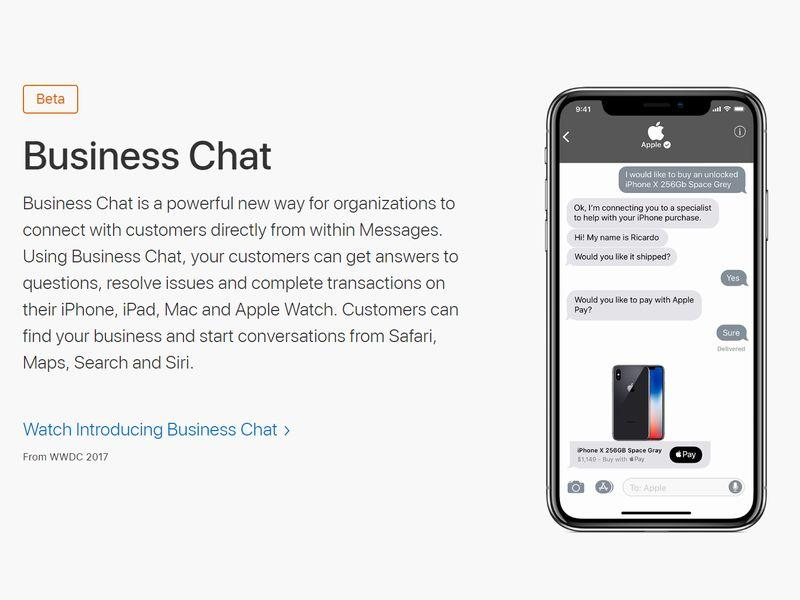 Apple「Business Chat」(画像は公式Webサイトより)《クリックで拡大》